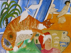 Self-Portrait-with-Ginger-Cat-and-Skylight